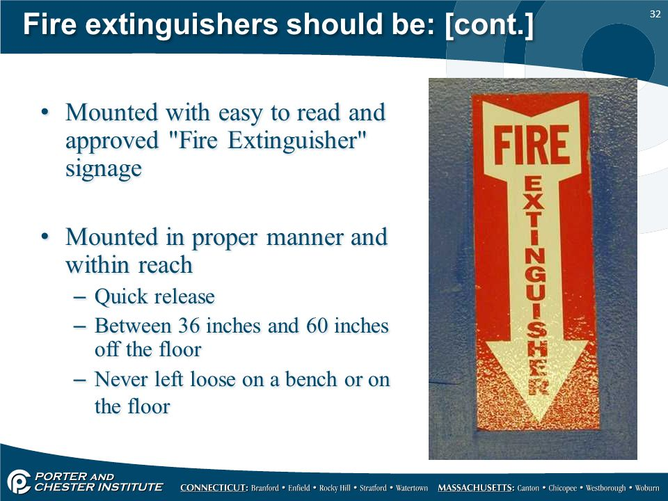 Fire extinguishers should be: [cont.]